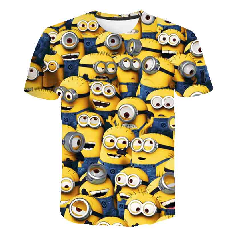 3D Baby Cartoon Print Minions T Shirt Kids Cute Banana Boys Girls Clothes T-Shirt Summer O'Neck Yellow Clothes Dropship 4T-14T