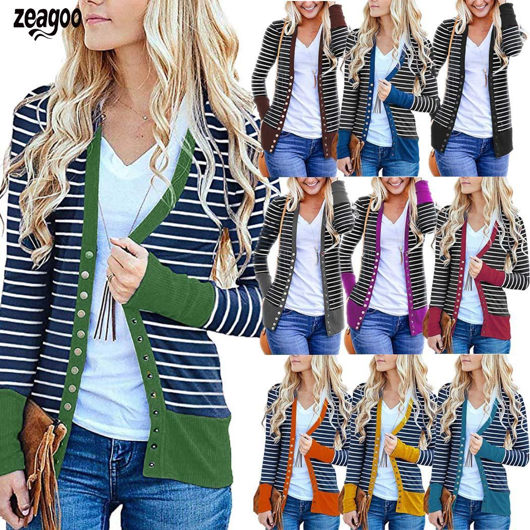 Women Casual Striped Patchwork Long Sleeve Snap Button Winter/Spring/Autumn Striped, Down Cardigan Regular