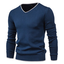 Men Autumn New Sweater V-neck Pullovers Fashion 100% Cotton Solid Color Long Sleeve Slim Sweaters Men Navy Knitwear