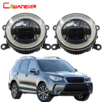 Cawanerl 2 X Car LED Kit Fog Light Daytime Running Lamp DRL Angel Eye 12V For Subaru Forester 2013 2014 2015 2016 2017 2018 image