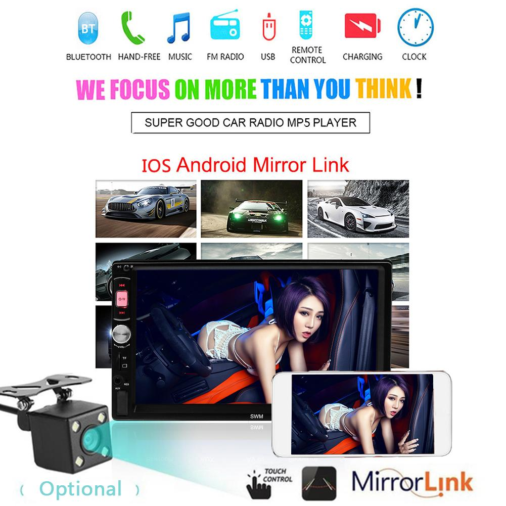 2 DIN Android Car Multimedia Player Bluetooth Touch Screen Stereo Radio MP5 Player Supports Android IOS System Mirror Link image