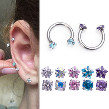 feature 9 pieces piercing kit 16g and 14g body piercing eyebrow barbell lip piercing nose ring nipple barbell tongue ri 1-5pc Zircon Eyebrow Piercing Nariz Circular Cartilage Barbell Ear Horseshoe Nose Septum Ring Lip Stud Tragus Helix Body Jewelry