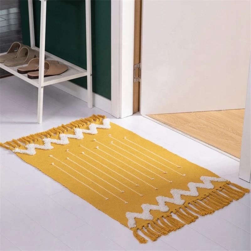 Moroccan Bathroom Rugs Small Fringe Rug Tribal Rug 2 X3 Woven Boho Bath Mat Tassels Carpet Aliexpress