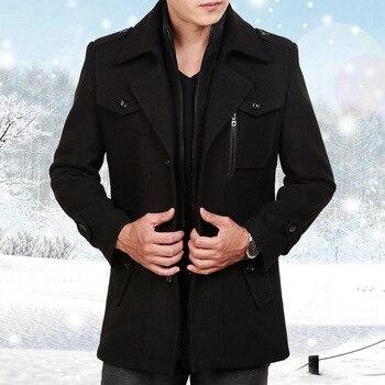 Male Long Wool Windbreaker Long Black Jacket Thick Thermal Trench Coat Mens Overcoat Plus Size Winter Men Woolen Coat 3xl 4xl
