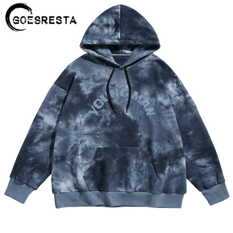 Autumn Cotton Tie Dye Hoodies Men Oversize Casual Hooded Sweatshirt Hip Hop Harajuku Streetwear Jumper Print Men Hoodies 2020