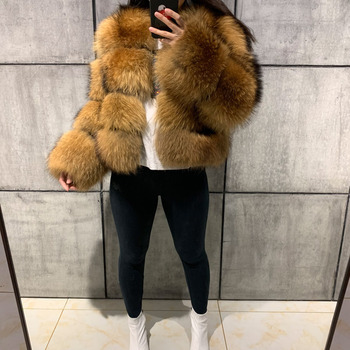 Winter Fake Raccoon Fur Jacket Women Fluffy Faux Fur Coat Brown Thick Warm Outerwear Fashion Overcoat 2020 New Casaco Feminino 1