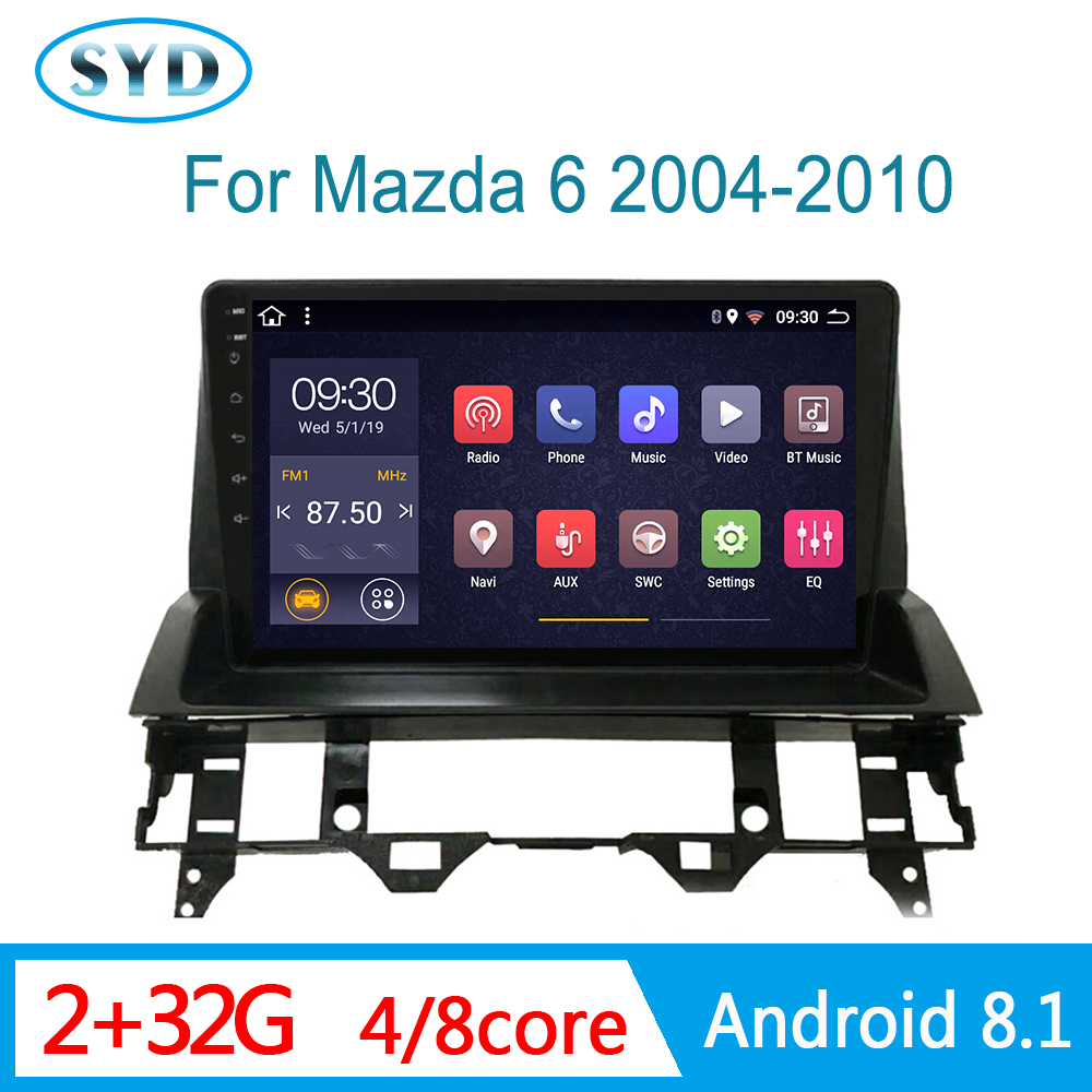 RAM 2G central multimedia for <font><b>Mazda</b></font> <font><b>6</b></font> 2004 2005 2006-2008 auto Radio <font><b>GPS</b></font> DVD player head unit support BOSE AM SWC 1 DIN Android image