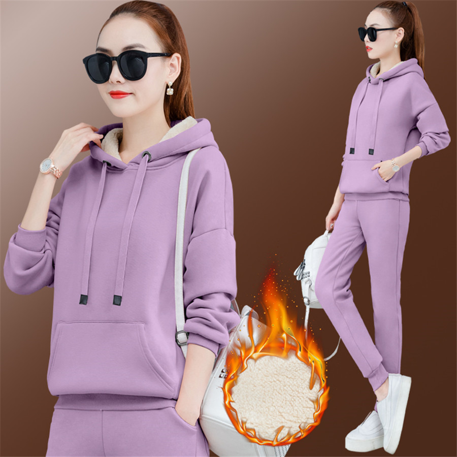 Pink Velvet 2 Piece Set Tracksuit Women Outfits Hoodies Top And Pant Suit Plus Size Large Warm Thick Matching Sets Winter Fall