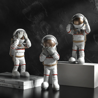 Do Not Listen No See No Say Astronaut Character Decor Creative Home Ornament Drawing Room Office Decor Gift Statue Sculpture