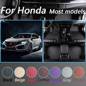 Custom Car Floor Mats For Honda All Models CRV XRV Odyssey Jazz City crosstour CRIDER VEZEL Accord Leather Interior Accessories image