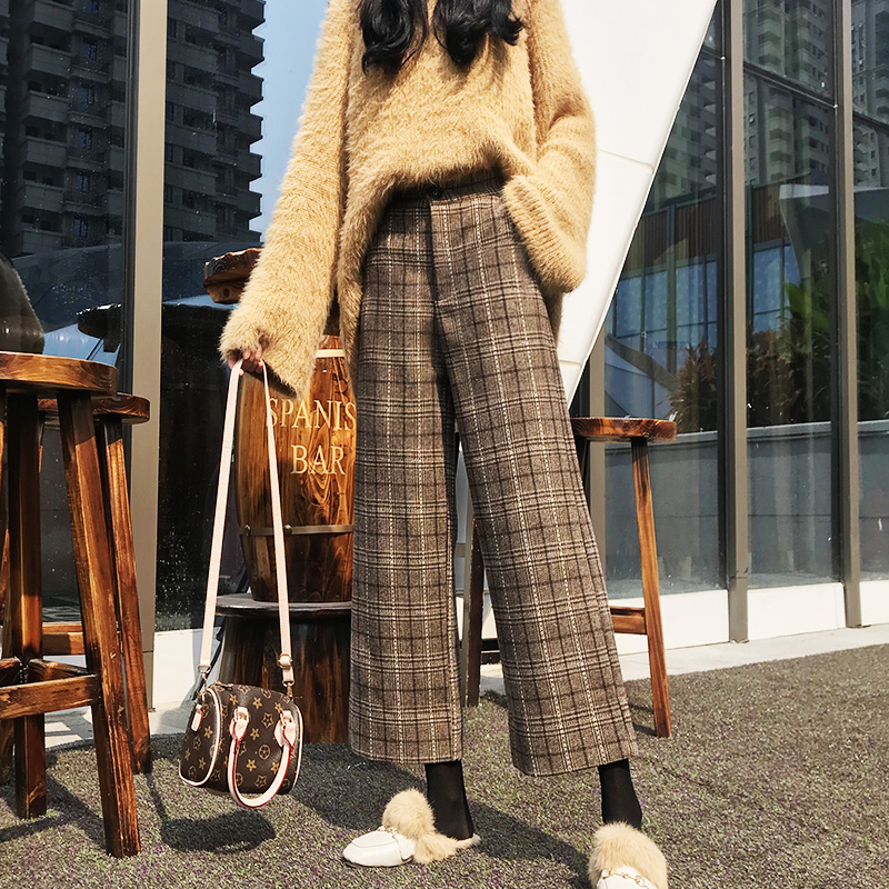 Women Trousers Autumn Winter   Wide     leg     Pants   Vintage Gray Plaid Woolen   Pants   Elastic High Waist Casual Loose   Pants   S-2XL