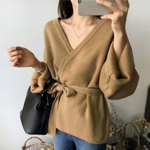 Autumn Winter V Neck Solid Loose Casual Sweater Belt Lace Up Cardigan Sashes Long Sleeve Plus Size Sweater цена 2017