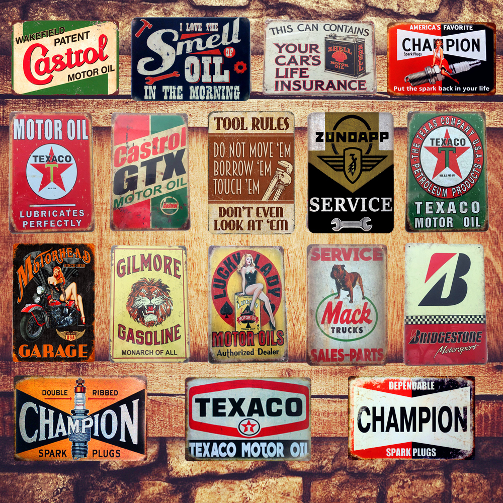 Motor Oil Plaque Vintage Metal Tin Signs Home Bar Pub Garage Gas Station Decorative Iron Plates Wall Stickers Art Poster N198 image