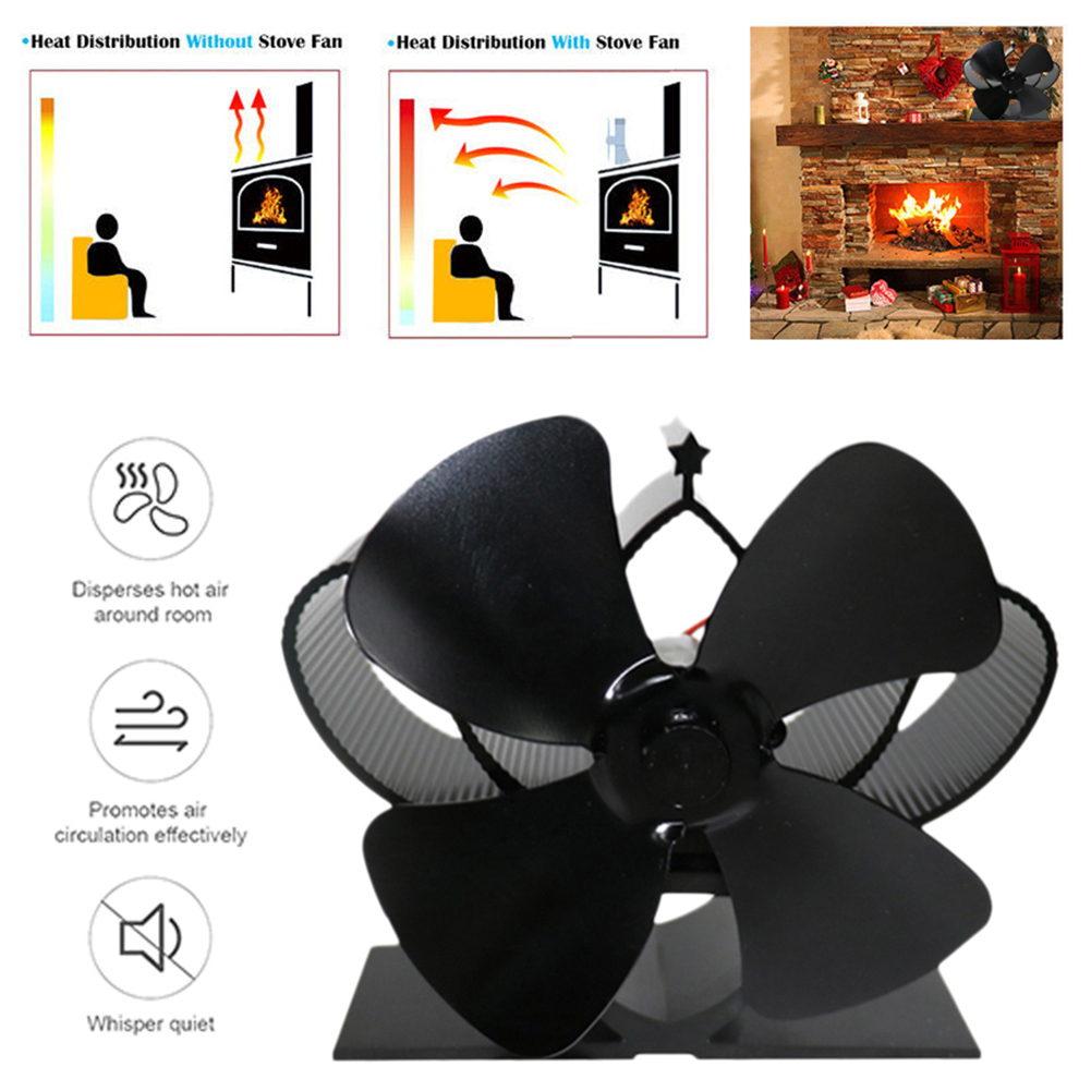 5 Types Stove Fan 4 Blade Fireplace Fan Heat Powered Komin Wood Burner Eco Fan Friendly Quiet Home Efficient Heat Distribution