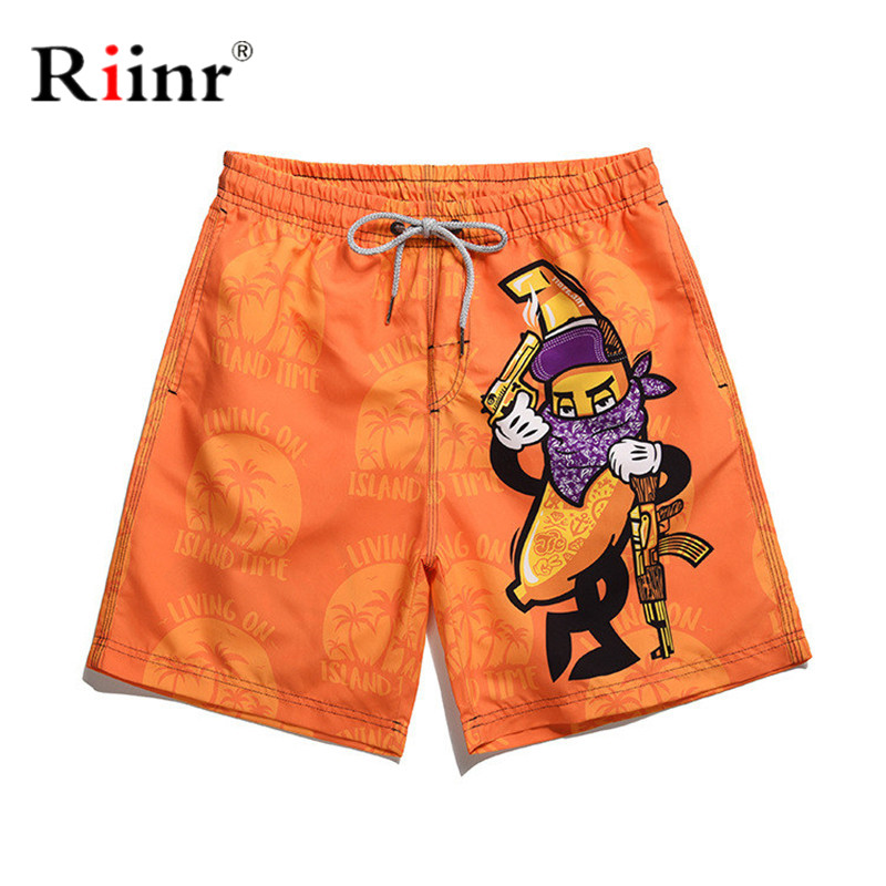 Riinr Beach Short Board Surf Mens Swimwear Trunks Fast-drying Men's Color Shorts Swimming Beach Shorts Banana Surfboard Shorts