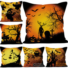 Sofa Pillowcase Cushions Pumpkin Linen Living-Room Cotton Print Cartoon Demon Horror
