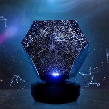 Светодиодный светильник для проекции, 3 цвета, вращающаяся игра, звездное небо, Проекционные Огни для спальни, романтические Звездные огни, зарядка