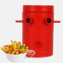 Bakır kızartması patates Maker dilimleme patates kızartması makinesi Jiffy kızartması kesici makinesi ve mikrodalga konteyner 2-in- 1 No derin kızartma