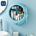 Grande capacidade organizador de maquiagem banheiro fixado na parede caixa armazenamento à prova dwaterproof água penteadeira cosméticos rangement armazenamento caso