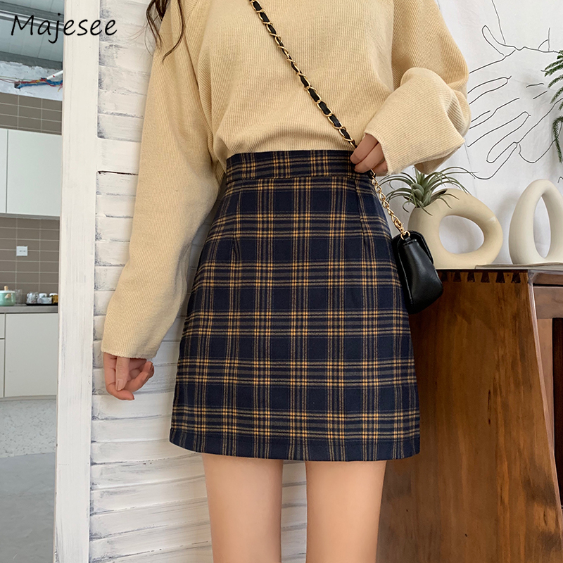 Skirts Women Plaid Simple Student Girls Korean Style Vintage Elegant Harajuku All-match Casual Womens Mini Skirt Fashion Ulzzang