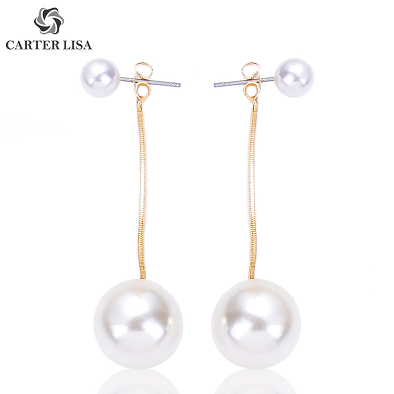 CARTER LISA Yellow Gold Big Faux Pearl Statement Drop Earrings For Women Girl Trend Fashion Bridal Wedding Jewelry Party Gifts