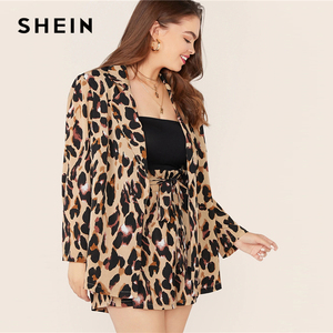 Image 3 - SHEIN Plus Size Leopard Print Notch Collar Blazer and Belted Shorts 2 Piece Set Women Autumn Casual Glamorous Two Piece Set