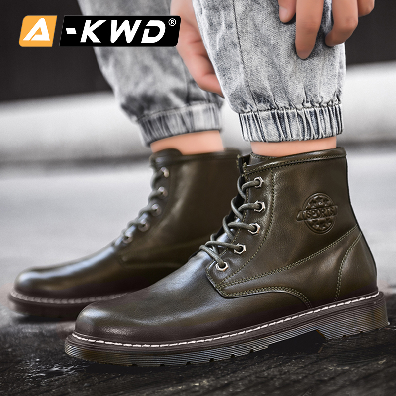 Mode noir marron bleu vert bottines haut haut outillage chaussures hommes Chealsea bottes hommes hommes bottes décontracté en cuir Pu homme bottes - 2