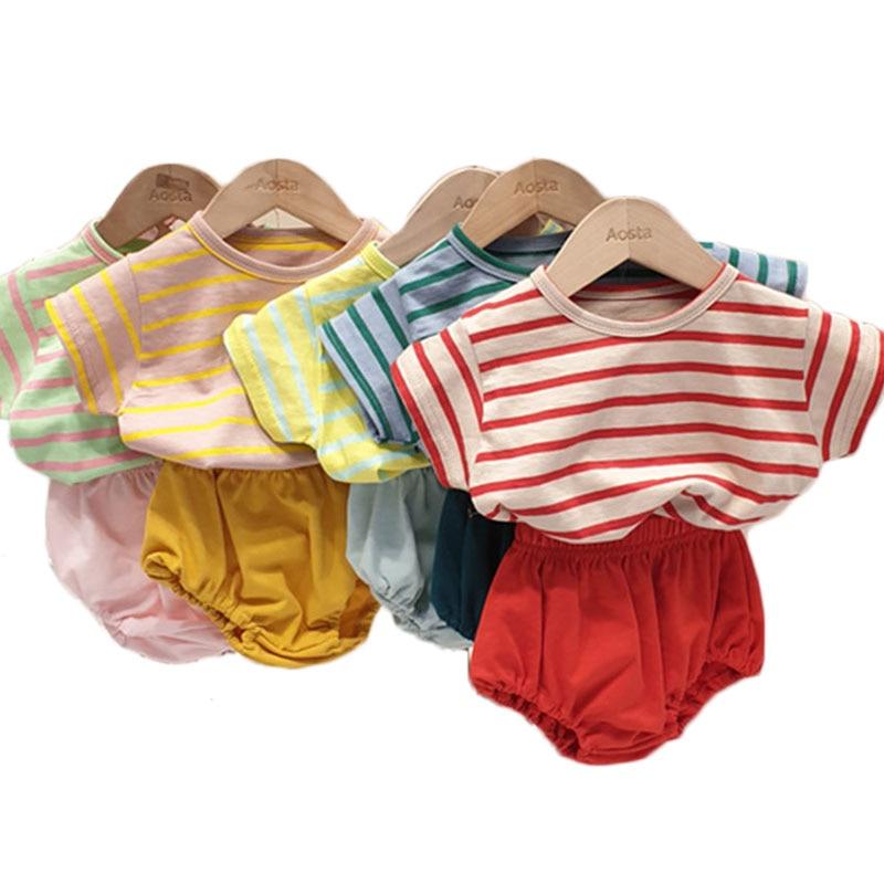 1200.0¥ 50% OFF 2020 Baby Boys Girls Striped 2pcs Sets Summer Cotton Casual T Shirt Boy Short Sleev...