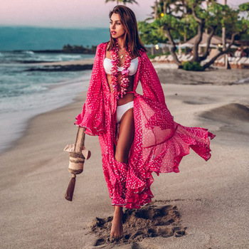 2020 Women Swimsuit Cover Up Sleeve Kaftan Beach Tunic Dress  1