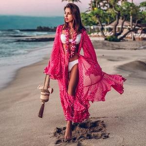 2020 Women Swimsuit Cover Up Sleeve Kaftan Beach Tunic Dress Robe De Plage Solid White Cotton Pareo High Collar Beachwear