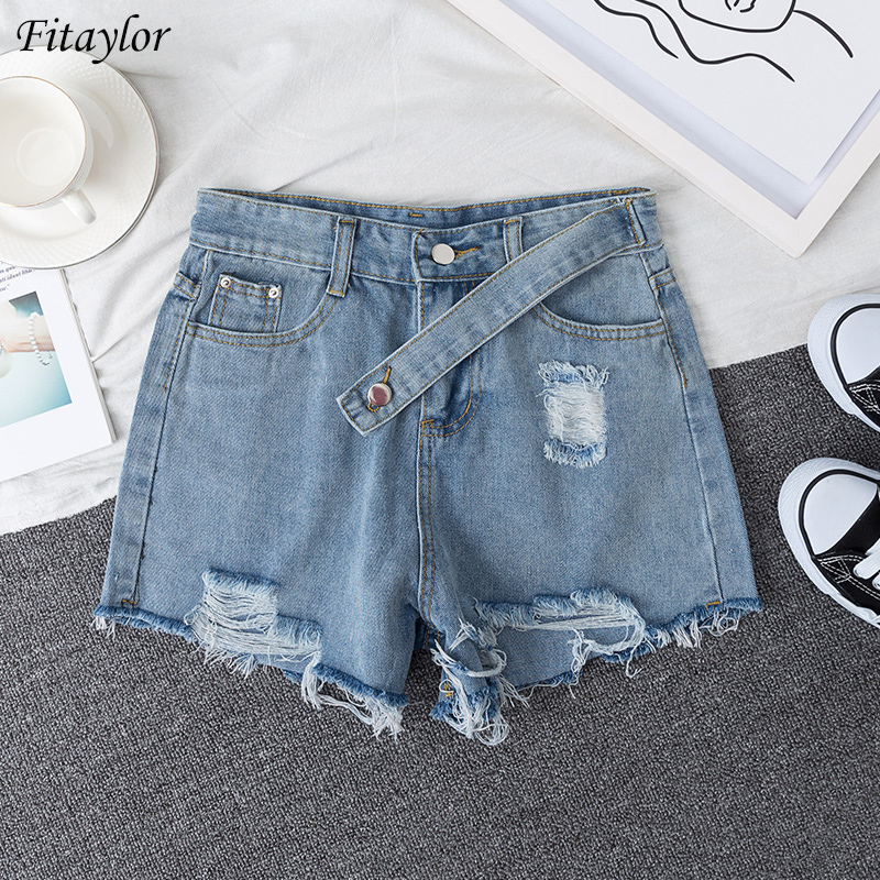 Fitaylor New Women Summer Streetwear Hole High Waist Blue Denim Shorts Vintage Female Plus Size 5xl Solid Color Jeans Shorts