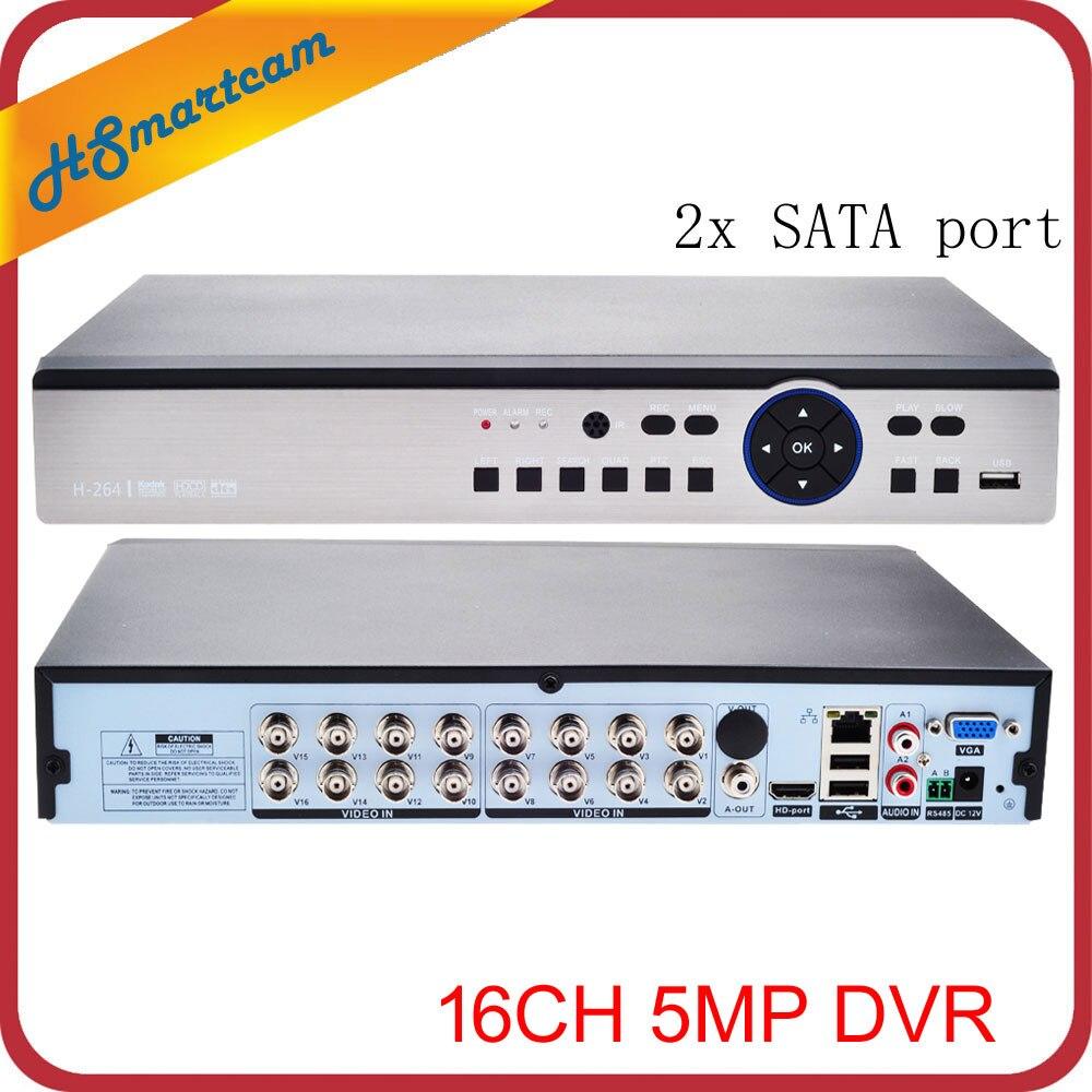 16CH AHD 5MP HD DVR 5MP CVI TVI enregistreur vidéo de Surveillance CCTV prise en charge HDMI USB 3G WIFI XMEYE (analogique AHD CVI TVI) + (caméra IP)