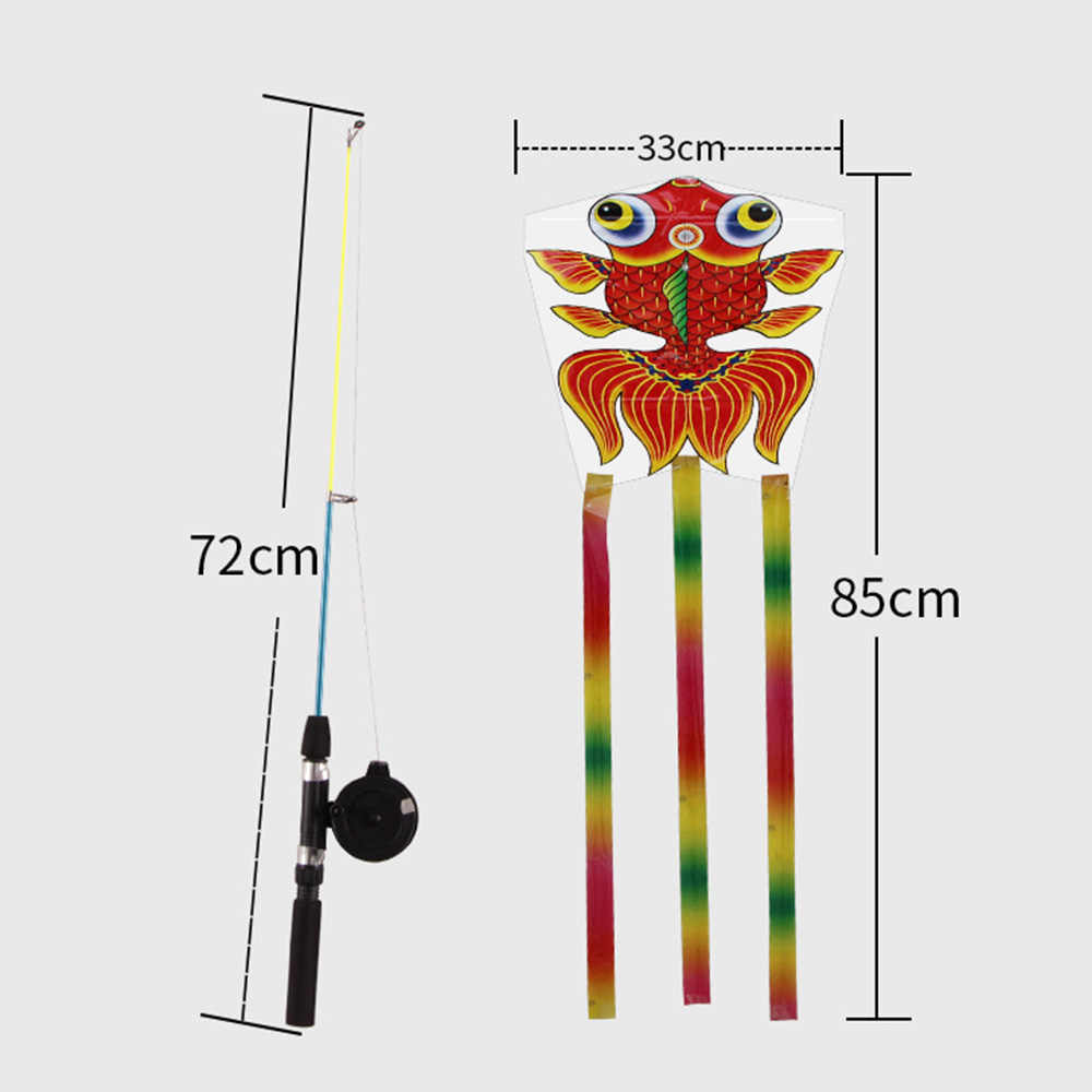 Fishing Rod Kite Cartoon Butterfly Fish Long Tail Nylon Outdoor Flying Toy for Children Kids Stunt Kite Surf Control Bar Line