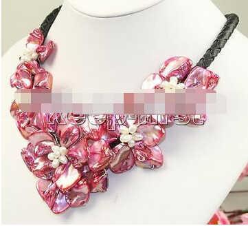 + + + 00939 18 pollici fatti a mano cinque fiore shell collana di perle rosso di charme