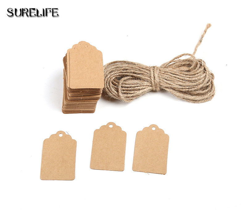 2000Pcs Tag Store Kraft Paper Blank DIY Wedding Gift Hemp Rope Price Label Hang 2*4cm/3*5cm - 5