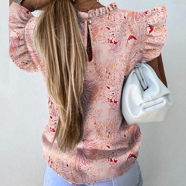 Hot Sale 2021 New Short Sleeve Round Neck Print Shirt Female Fashion Plus Size Pullover Clothes Women's Summer Ruffle Blouse 5