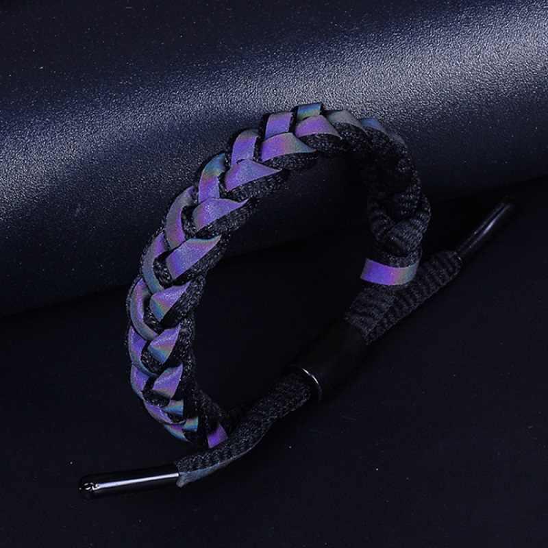 新ファッション調節可能なライオンブレスレット男性チャーム反射ロープ Paracord ブレスレット男性ラップ金属スポーツフック 3C0281