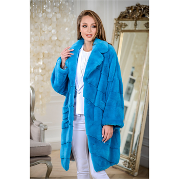 FURSARCAR Luxurious Blue Mink Fur Jacket Women Winter Natural Fashion Real Coats With Turndown Collar Long Outwear