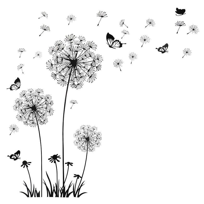 Kupu-kupu Terbang Di Dandelion Kertas Dinding Kamar Tidur Stiker Poastoral Gaya Stiker Dinding Desain Asli PVC Stiker Dinding