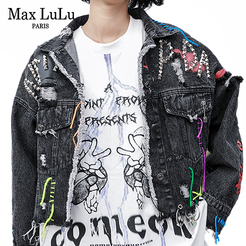 Max LuLu New 2020 Spring Fashion Punk Style Streetwear Loose Clothes Ladies Embroidery Denim Jackets Women Vintage Printed Coats