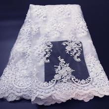 Tecidos de renda branca puro para festas africanas, tecido bordado do casamento, tecido de renda africano para vestido de casamento w006d