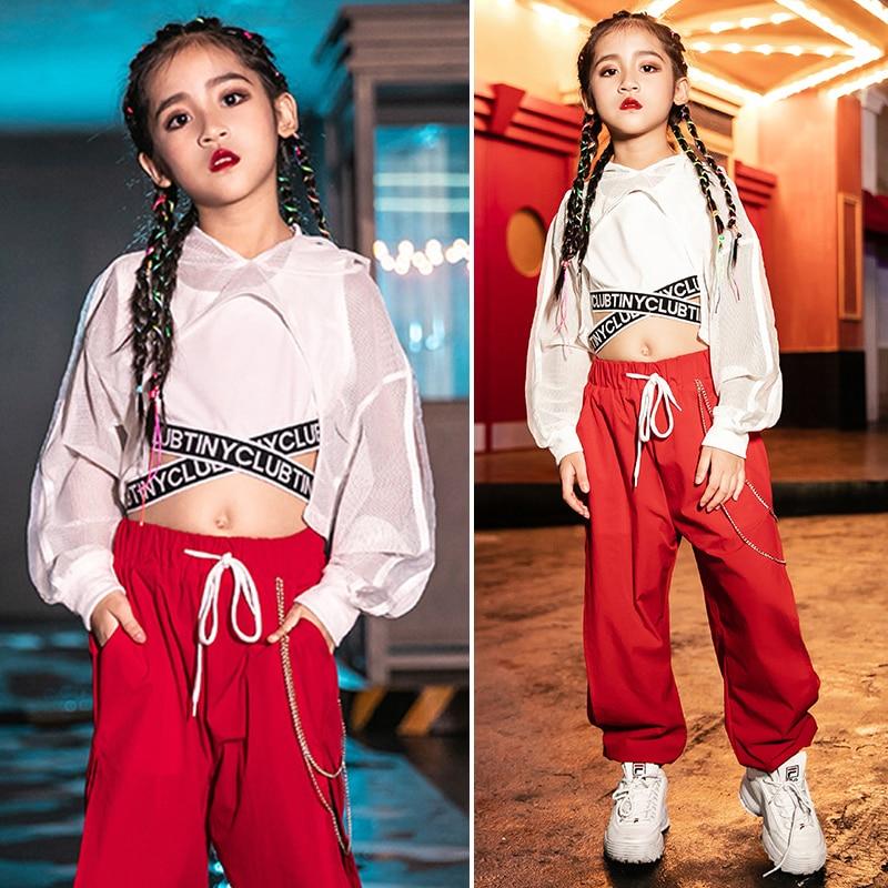 Jazz Dance Clothing Girls Costume Hip Hop Clothes Kids Vest Coat Pant Street Wear Children Stage Perform Jazz Dress Girls VDB991