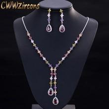 CWWZircons Juego de collar y pendientes para mujer, piedras de circonia cúbica multicolor, colgantes largos, juegos de joyas para mujer, T226