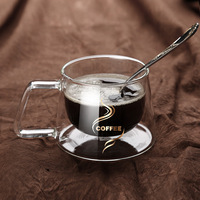 2021 nuova semplicità tazza di vetro caffè bicchieri isolamento tazza di vetro a doppia parete cucchiaio regali tazze trasparenti in stile europeo caldo