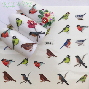 Nail sticker art decoration slider lovely birds flower Water Transfer decals manicure lacquer accessoires polish foil