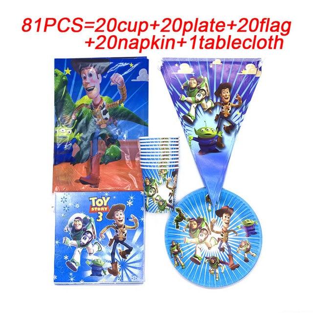 81 pcs 디즈니 토이 스토리 일회용 종이 냅킨 배너 식탁보 밀짚 컵 플레이트 베이비 샤워 생일 파티 장식 용품