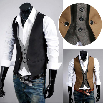 Men Fake Two Pieces Of Vest Business Male Suit Sleeveless Men's V-neck Fake Two Piece Plaid Color Ma