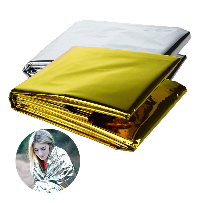 160*210cm Outdoor Waterproof Emergency Blanket Lifesaving Thermal Insulation First Aid Rescue Blanket Gold Silver Double Color