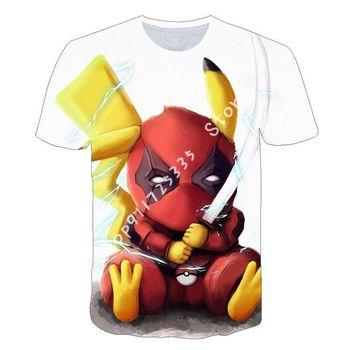 2020 lato Anime 3D cartoon tee Baby Boy ubrania dla dzieci piękne Pokémon ubrania t shirt odzież dla dzieci chłopiec dziewczyny Tshirt tanie i dobre opinie CN (pochodzenie) Drukuj krótkie SILK Z dekoltem turtleneck Dobrze pasuje do rozmiaru wybierz swój normalny rozmiar Chłopcy