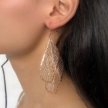 Endless Friendship Ethnic Bohemian Women Earrings Simple Hollow Multi-layer leaves earrings long tassel fashion jewelry